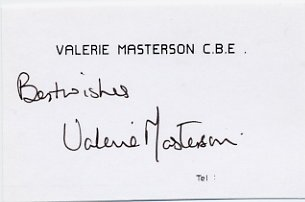 English Opera Singer VALERIE MASTERSON Autographed Card