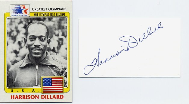 1948-52 Four Gold Medals HARRISON DILLARD Autograph 1980s & Greatest Olympians Card