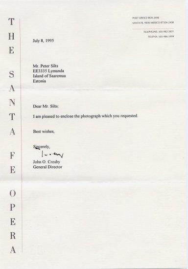 Conductor & Santa Fe Opera JOHN CROSBY Typed Letter Signed 1995