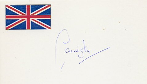 Former Secretary General of NATO LORD CARRINGTON Autographed Card