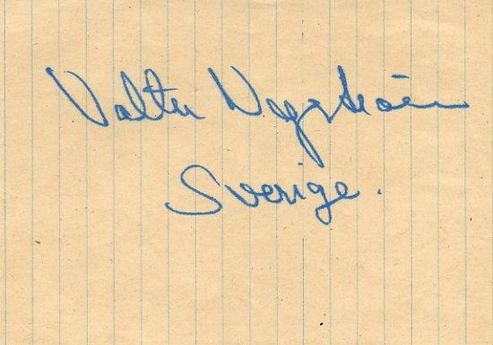 1952 Helsinki 10000m Olympian VALTER NYSTROM Vintage Autograph