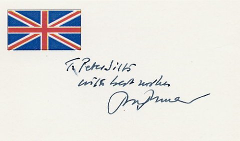 Prolific Novelist & Playwright JOHN MORTIMER Autographed Card 1995 #2