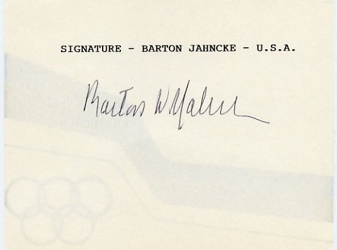 1968 Mexico City Yachting Gold BARTON JAHNCKE Autographed Card
