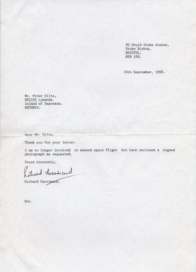 British Astronaut Candidate RICHARD FARRIMOND Typed Letter Signed 1994