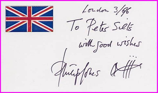 Famous English Classical Trumpeter PHILIP JONES Autographed Card 1996 & Sketch