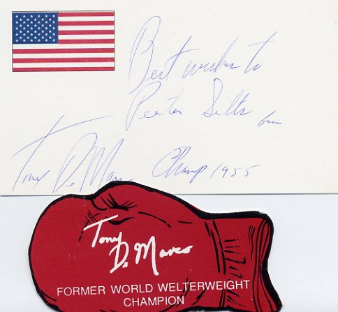 1955 Welterweight Boxing Champion TONY DeMARCO Hand Signed Card #2