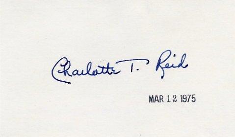 U.S. Representative from Illinois CHARLOTTE T. REID Hand Signed Card 1975