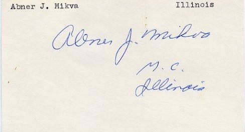 Illinois Representative ABNER J. MIKVA Hand Signed Card 1970s