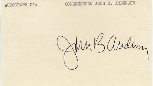 Illinois Representative JOHN B ANDERSON Hand Signed Card 1970s