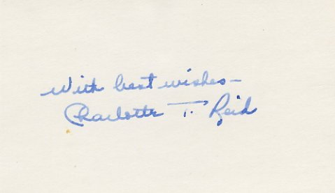 U.S. Representative from Illinois CHARLOTTE T. REID Autographed Card 1970s