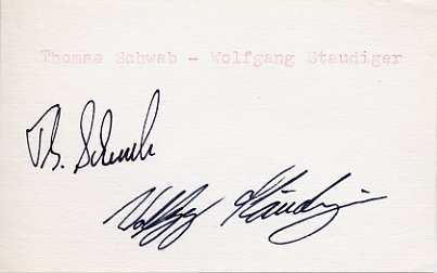 1988 Calgary Luge Bronze SCHWAB / STAUDINGER Autographs 1988