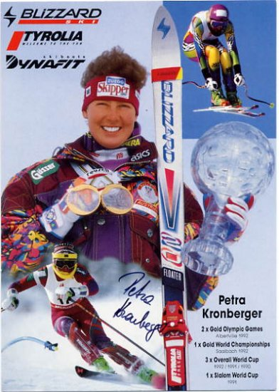 1992 Albertville Alpine Skiing Gold PETRA KRONBERGER Hand Signed Photo Card