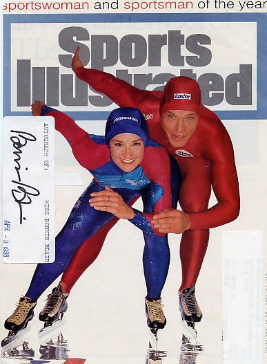 Five-time Speed Skating Gold Medalist BONNIE BLAIR Autograph 1998 & Sports Illustrated Cover