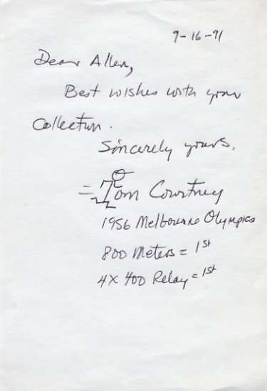 1956 Melbourne 800m Gold TOM COURTNEY Autograph Note Signed 1991