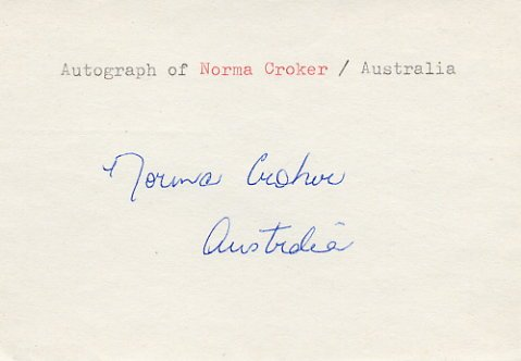 1956 Melbourne 4x100m Relay Gold NORMA CROKER Autograph 1980s