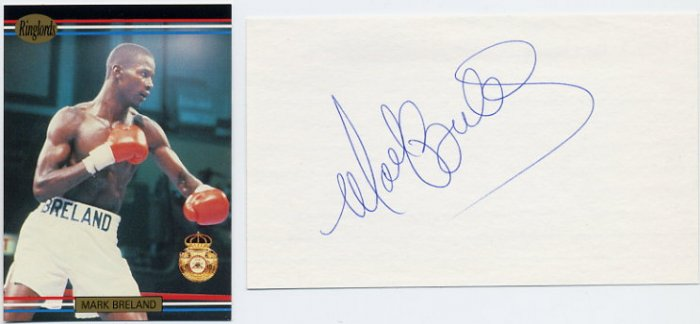 1984 Los Angeles Boxing Gold & WBA Welterweight Champ MARK BRELAND Autograph & Ringlords Card