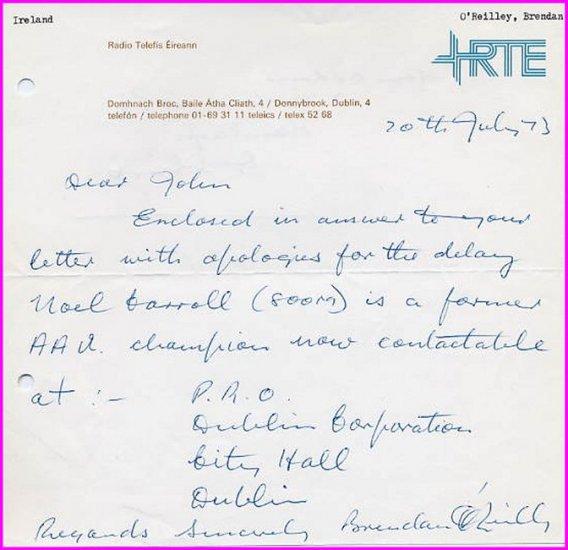 Ireland - Champion Athlete & Sports Journalist BRENDAN O'REILLY Autograph Letter Signed 1973