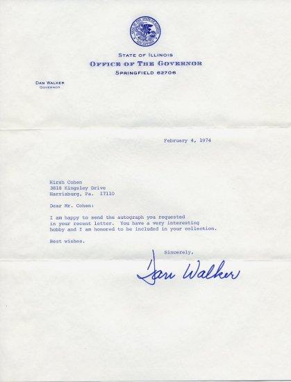 1973-77 Illinois Governor DANIEL WALKER Typed Letter Signed 1974