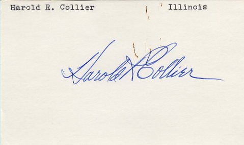 U.S. Representative from Illinois HAROLD R. COLLIER Hand Signed Card 1970s