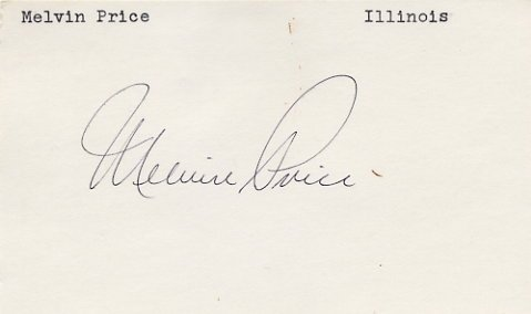 U.S. Representative from Illinois CHARLES MELVIN PRICE Hand Signed Card 1970s