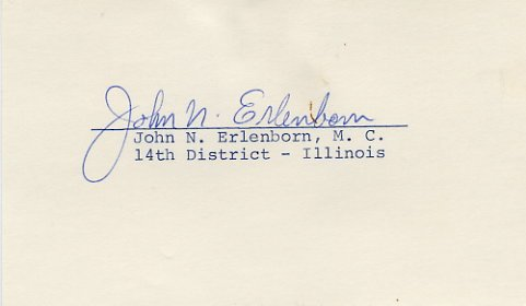 U.S. Representative from Illinois JOHN ERLENBORN Hand Signed Card 1970s