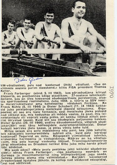 1968 Mexico City & 1972 Munich Rowing Gold DIETER GRAHN Autographed Magazine Pict 1970