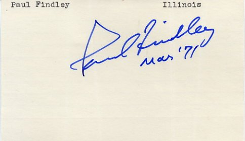 U.S. Representative from Illinois PAUL FINDLEY Hand Signed Card 1971