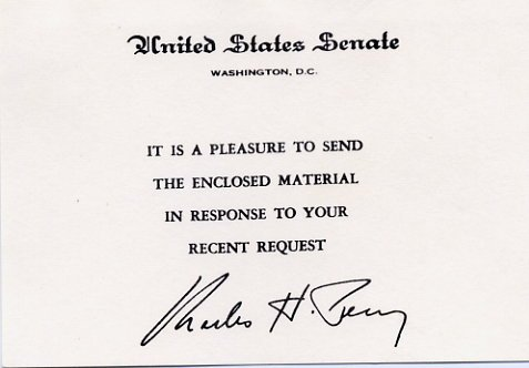 Illinois Senator CHARLES H. PERCY Hand Signed Card from 1970s