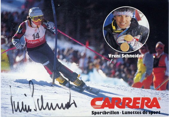 1988 Calgary & 1994 Lillehammer Alpine Skiing Gold VRENI SCHNEIDER Hand Signed Photo Card 1988