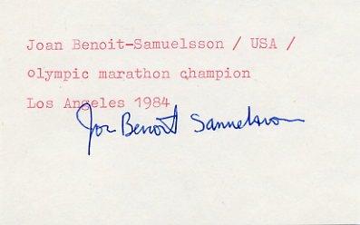 1984 Los Angeles Marathon Gold & WR JOAN BENOIT Autograph 1980s