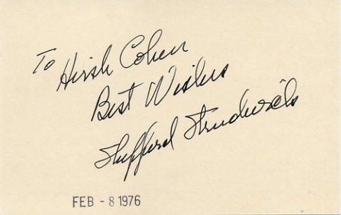 American Actor SHEPPERD STRUDWICK Autographed Card 1976 #4