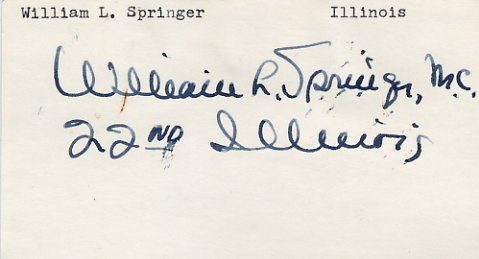 U.S. Representative from Illinois WILLIAM SPRINGER  Hand Signed Card 1970s