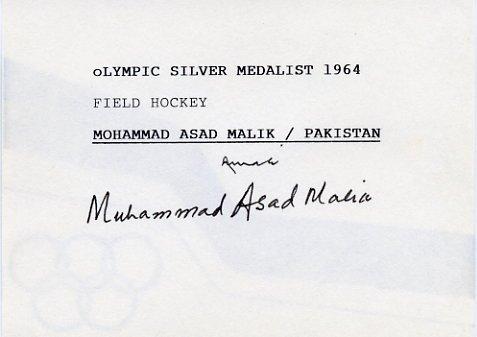 1968 Mexico City Field Hockey Gold MOHAMMAD ASAD MALIK Autographed Card