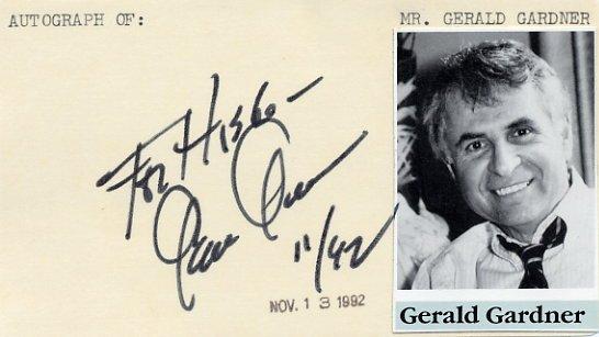 Scriptwriter & Author GERALD GARDNER Autographed Card 1992