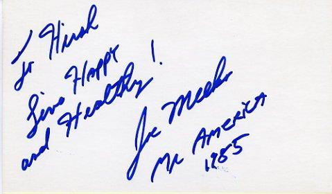 Weightlifter & Mr. America JOE MEEKO Autographed Card
