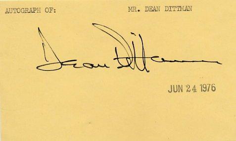 American Actor DEAN DITTMAN  Autograph 1976