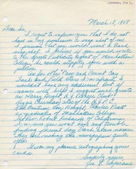 Manhattan College Track Star JOE SOPRANO Autograph Letter Signed 1958