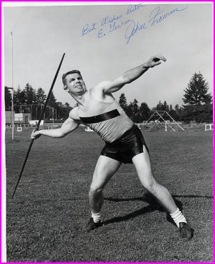 1961 US Javelin Throw Champion JOHN FROMM Hand Signed Photo 8x10