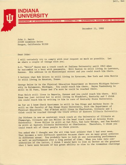 Legendary Indiana University Track Coach SAM BELL Typed Letter Signed 1980 Content!