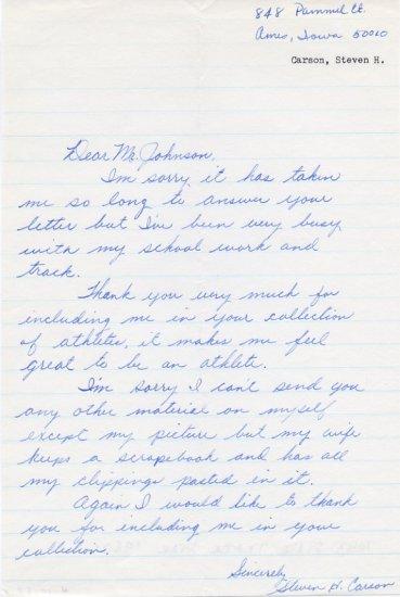 1960s Iowa State Track Star STEVEN CARSON Autograph Letter Signed 1967