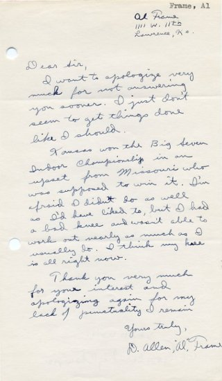 Kansas  - 1954-55 Cross Country Champion AL FRAME Autograph Letter Signed 1950s