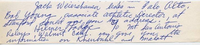 1930s Stanford Track Star & Washington Head Track Coach STAN HISERMAN Autograph Note
