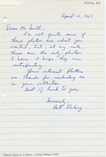 Outstanding Holy Cross Distance Runner ART DULONG Autograph Letter Signed 1967