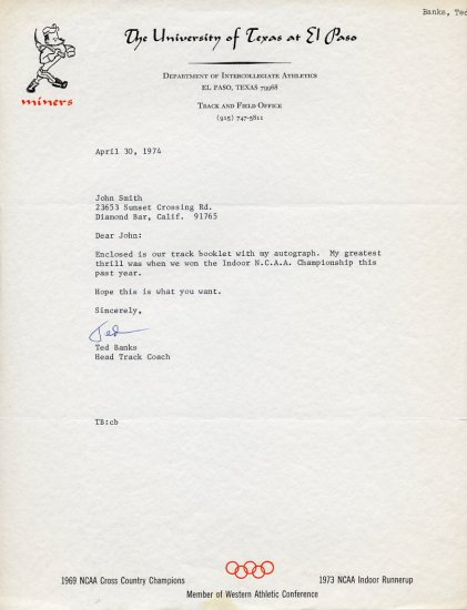 Legendary UTEP Head Track Coach TED BANKS Typed Letter Signed 1974