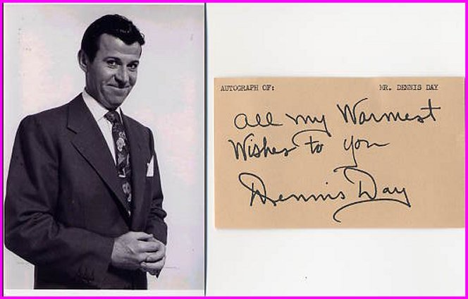 Singer & Comedian & Radio/TV DENNIS DAY Autograph 1982 & Pict