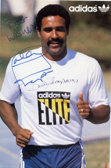1980 Moscow & 1984 Los Angeles Athletics Decathlon Gold DALEY THOMPSON Hand Signed Photo