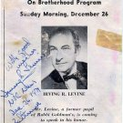 Famous American Journalist IRVING LEVINE Autograph Note Signed 1971
