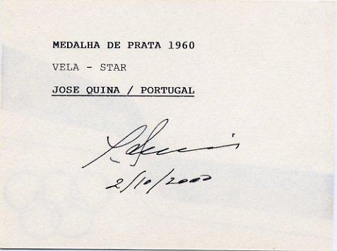 1960 Rome Sailing Silver JOSE QUINA Hand Signed Card