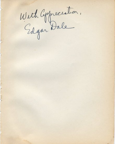Cone of Experience - Educationist EDGAR DALE Autograph 1940s