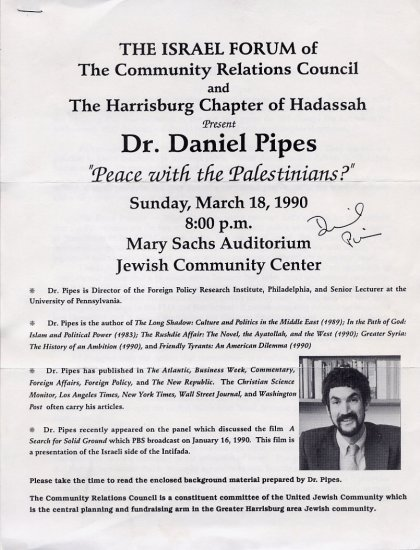 """American Historian DANIEL PIPES Signed Article """"Peace with the Palestinians?"""" 1990"""